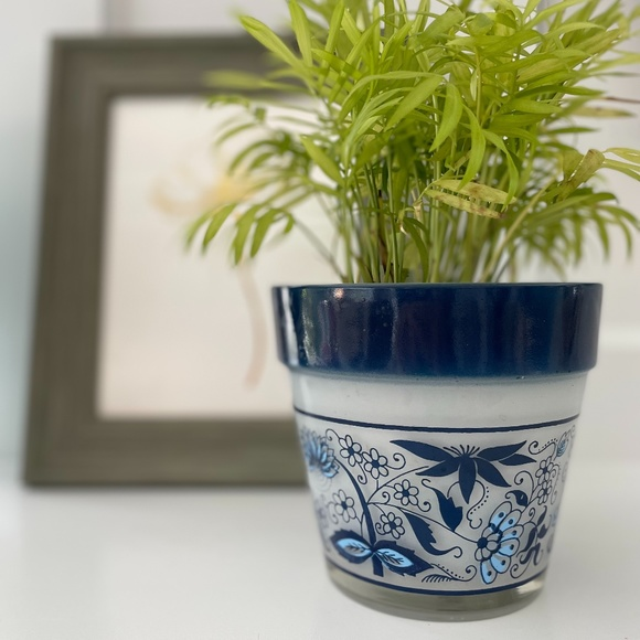 """Mid Century Frosted + Blue Floral 6"""" Plant Pot MCM"""